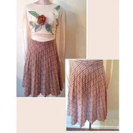 1970's plaid pleated skirt