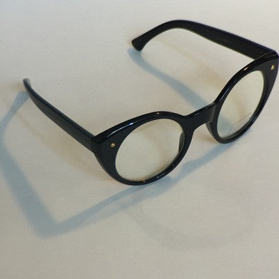 Round Cat eye clear lens glasses