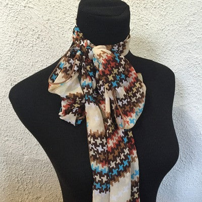 Brown and blue vintage scarf
