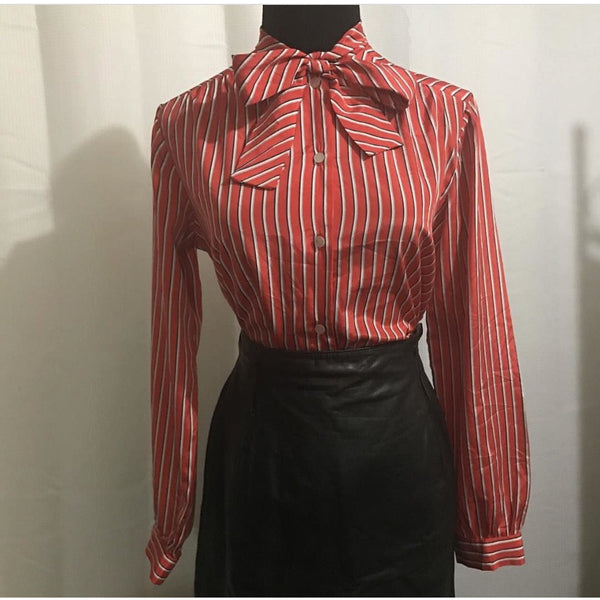vintage stripped pussy bow blouse