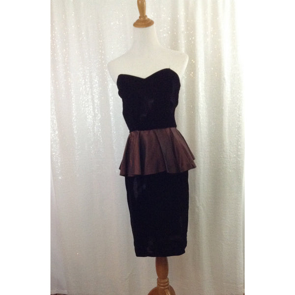 Vintage Brown velvet peplum tube dress