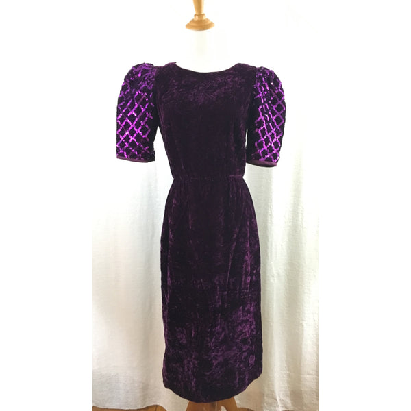 Purple velvet vintage dress with puffy sleeves xs/s