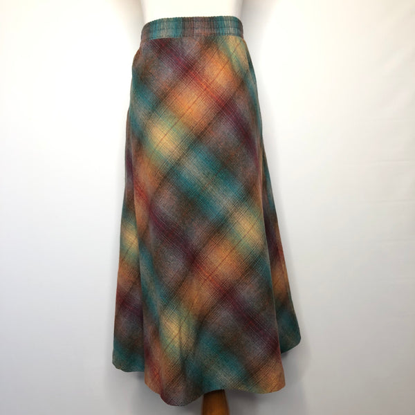Vintage circle wool plaid skirt