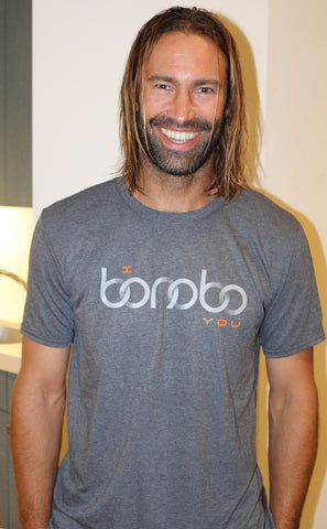 """I Bonobo You"" Grey T-shirt modeled by Jeremy Black"