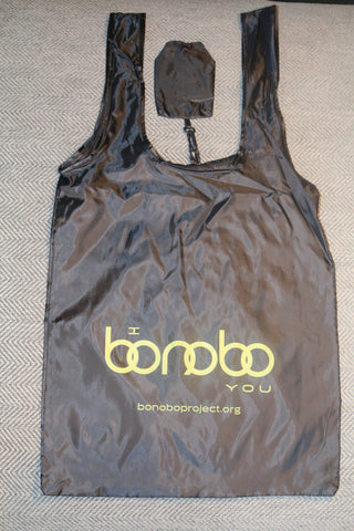 "Reusable Black ""I Bonobo You"" Nylon Grocery Tote"