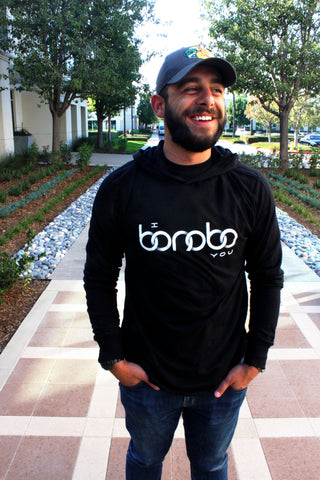 """I Bonobo You"" Black Long Sleeve Hoodie modeled by Mike Vides"