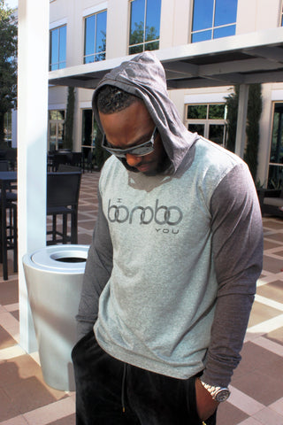 """I Bonobo You"" Grey and Dark Grey Hoodie modeled by Mike Hicks"