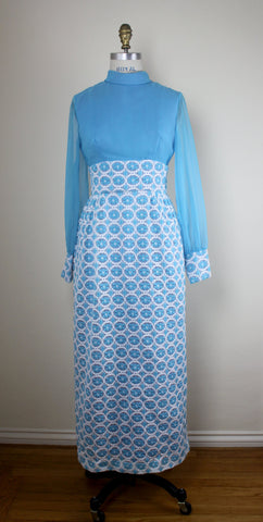 Mod Blue And White Dress With Chiffon Long Sleeves, 60s Full Length Dress