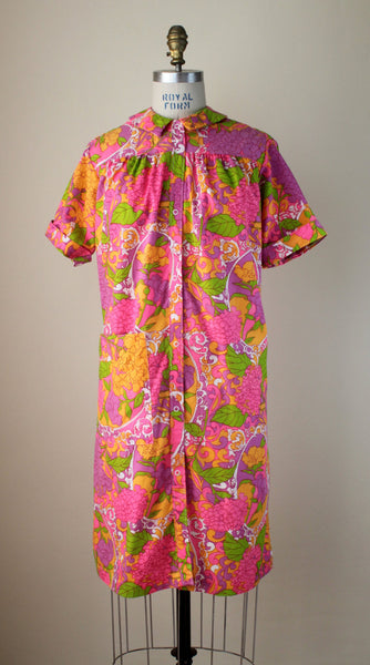 Vintage Bright Floral House Dress With Patch Pocket