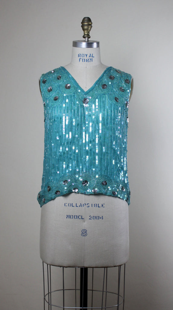 Turquoise Beaded And Sequined Top