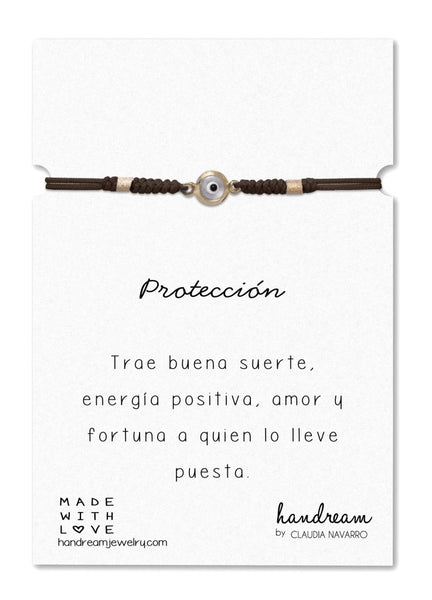 Pulsera Ojo Med - Gold Marron/Blanco