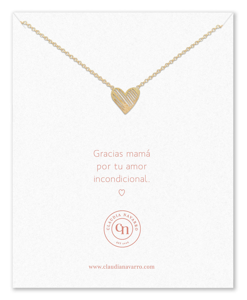 Collar Corazon Pintado MAMA Gold