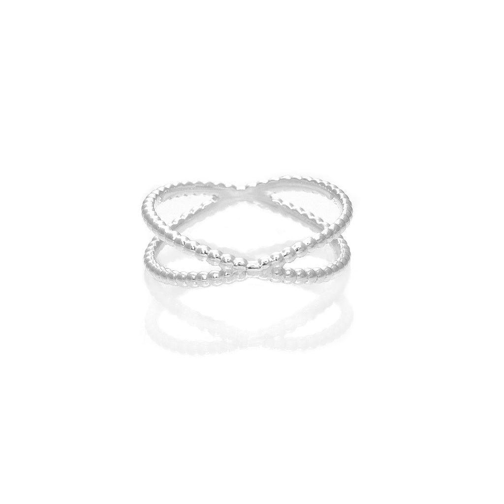 Anillo Cross Dots Silver