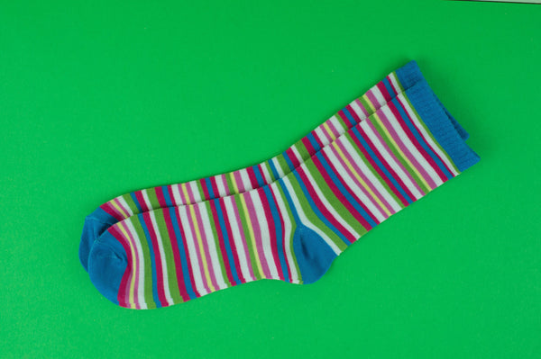 Blue Green Mini Stripe Sock