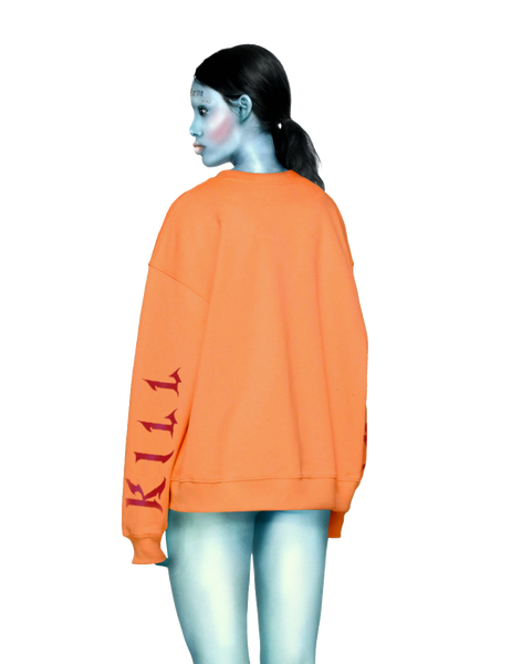 Oversized KILL BABE Sweater in Orange