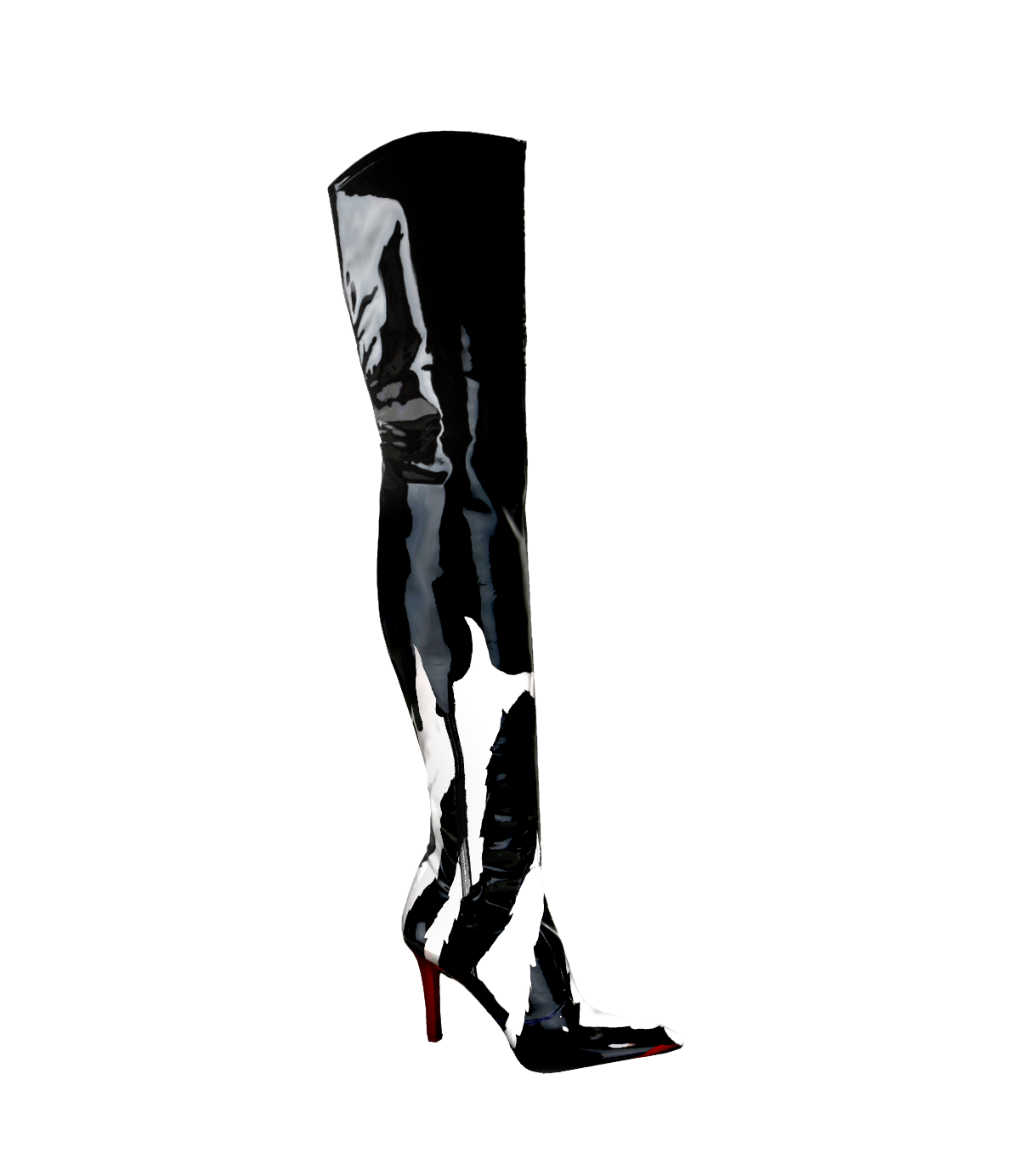 Faux Leather Hand Painted Thigh Boot
