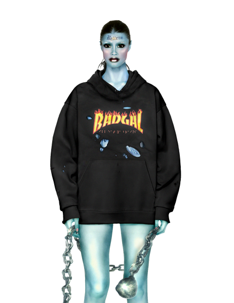 Distressed Flame BADGAL Hoodie