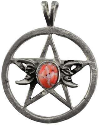triple moon pentagram spell amulet