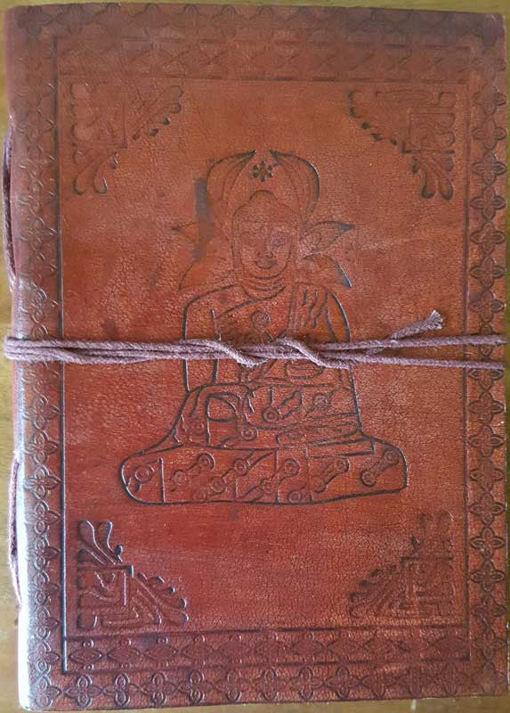 "5"" x 7"" Buddha leather blank book w/cord"