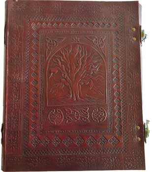 "10"" x 13"" Sacred Oak Tree leather blank book w/ latch"