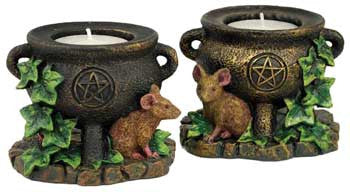 2 Cauldron & Mouse tealight holder