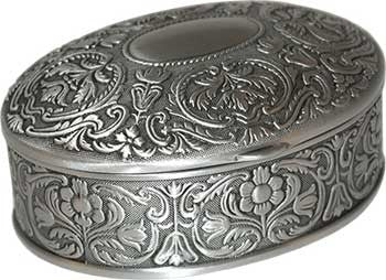 "2 1/2"" x 3 1/2"" Oval pewter box"