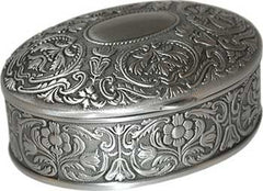 oval pewter box