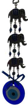 3 Elephant Evil Eye wall hanging