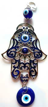 "Hand Evil Eye wall hanging 8"" blue"
