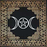triple moon pentagram altar tarot