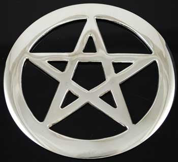 "Pentagram altar tile 4"" silver plated"