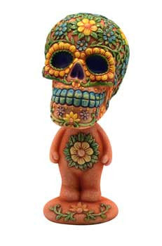 "5 3/4"" Orange Skull bobblehead"