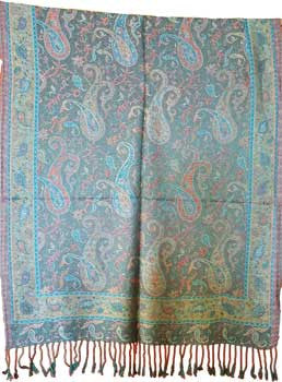 "Peacock Paisley scarf 27""x68"""
