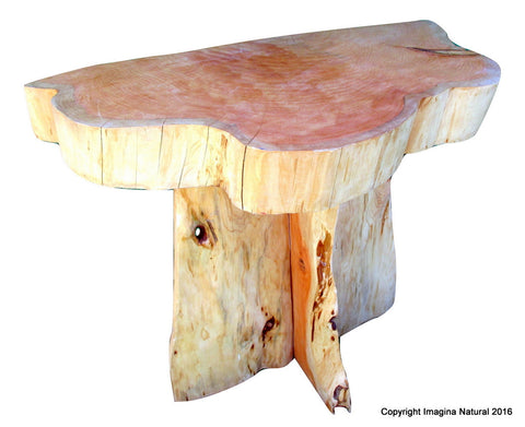Cypress Handmade Tree Slab Wall Accent Table - Rustic Chilean Log Table - Imagina Natural