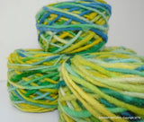 100% Pure Natural Chilean Wool Yarn, Handmade Knitting Hand Dyed Skein Araucania (Multicolour Light Blue- Blue-Yellow )