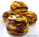 Limited Edition Handspun Hand dyed Pure Bulky Chilean Wool Knitting Multicolor Araucania Chunky brown yellow mustard yarn 100g 3.5oz