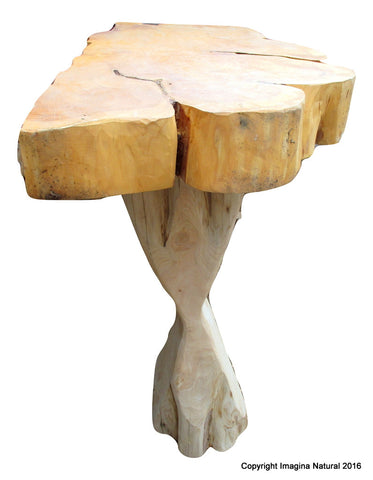 Naturally Unique Cypress Tree Trunk Handmade Wall Accent Table - Rustic Chilean Log Table - Imagina Natural
