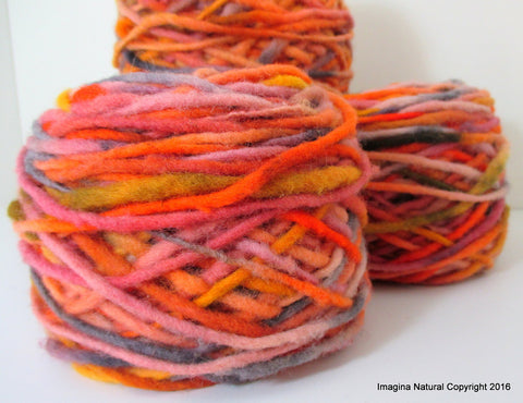 Limited Edition Handspun Hand dyed yarn Bulky Chilean Wool Knitting Multicolour Araucania Chunky Skein Yellow orange grey 100g 3.5oz