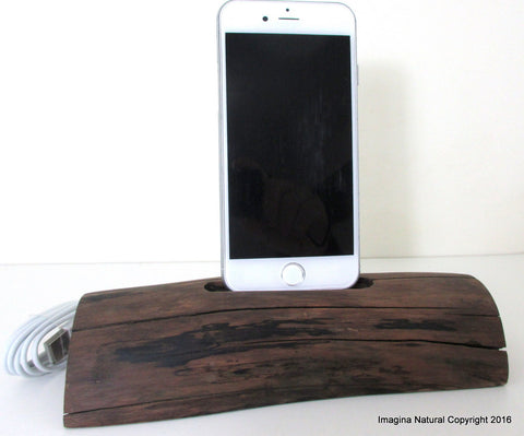 Free shipping iPhone or Cellphone Driftwood Stand Wooden iPhone Docking Station Reclaimed Drift Wood iPhone Dock Wooden iPhone Cable holder Iphone 5 6 7 8 X XS
