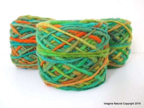 Limited Edition Handspun Hand dyed yarn Pure Bulky Chilean Wool Knitting Multicolour Araucania Chunky Skein Green Orange Turquoise 100g 3.5oz