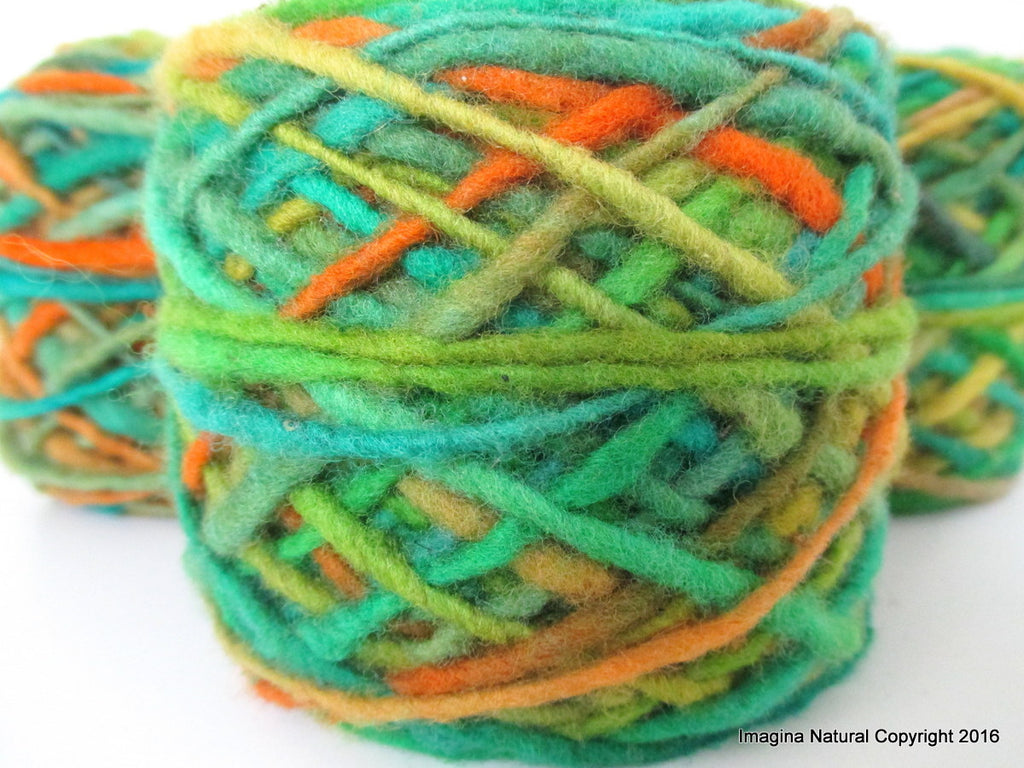 100% Pure Chilean Wool Yarn handmade 100g knitting green orange turquoise mustard Araucania