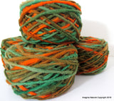 Limited Edition Handspun Hand dyed yarn Bulky Chilean Wool Knitting Multicolour Araucania Chunky Skein Green orange Light green 100g 3.5oz