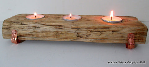 Free Shipping, Beautiful New Handmade Driftwood 3 Tea light Candle Holder Made from Reclaimed Native Chilean Wood. Candelabra, Candlestick, Tealight with Copper Legs and Copper Nails