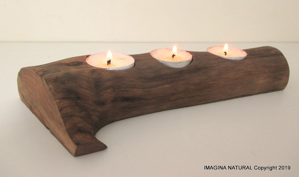 Free Shipping Beautiful New Handmade oak Driftwood 3Tea light Candle Holder Made