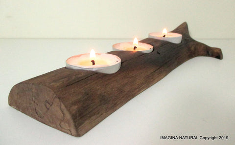 Free Shipping Beautiful New Handmade oak Driftwood Tea light Candle Holder Made