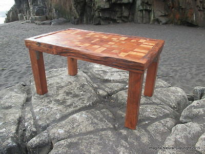 Unique Reclaimed Tsunami Wood Mosaic Coffee Table Handmade In Constitucion Chile - Imagina Natural