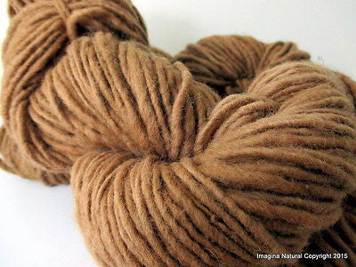 Organic Oak Brown Hand Spun Pure Chilean Araucana Wool Knitting Handmade Yarn - Imagina Natural