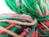 100% Pure Natural Chilean Wool Yarn, Handmade Knitting Hand Dyed Skein Araucania (Green Red Pink) - Imagina Natural