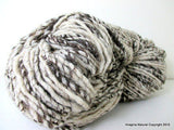 Hand Spun Undyed Non treated Pure Chilean Araucana Wool Knitting Yarn Handmade Black and White