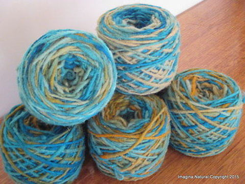 100% Pure Natural Chilean Wool Yarn, Handmade Knitting Hand Dyed Skein Araucania (Multicolour Blue Green) - Imagina Natural